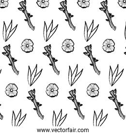 grunge exotic flower and branch leaves background