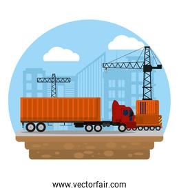 truck transport with container cargo and crane