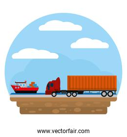 delivery containers cargo with ship and truck
