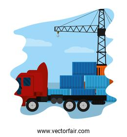 cargo containers with truck transport and crane