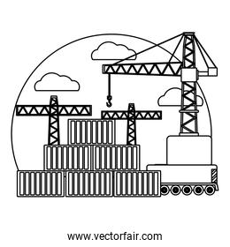 line delivery cargo containers and crane object