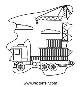 line cargo containers with truck transport and crane