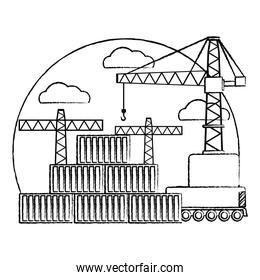 grunge delivery cargo containers and crane object