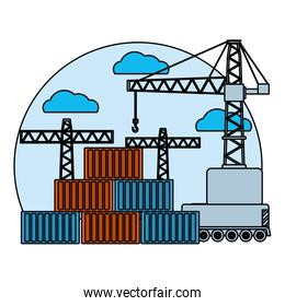 color delivery cargo containers and crane object
