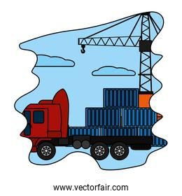 color cargo containers with truck transport and crane