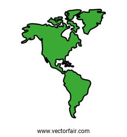 color global america map geography continent