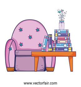 books and flowers vase in the table and chair
