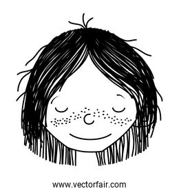 line smile girl head with hairstyle and closed eyes