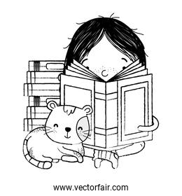 grunge girl sitting and reading book with cat animal