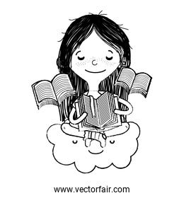 grunge girl sitting in the cloud and reading books