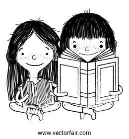 grunge girl and boy sitting and reading education book
