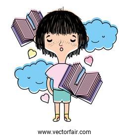 color boy dreaming with books and kawaii clouds