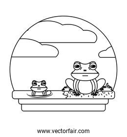 line cute frog couple wild animal in the landscape