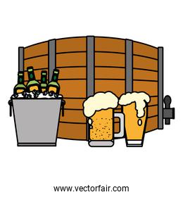 beer barrel with bottles and glass beverage