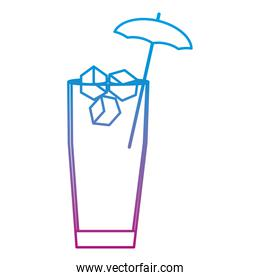 degraded line cocktail glass with ice cubes and umbrella decoration