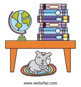 color books and global desk in the table and cat