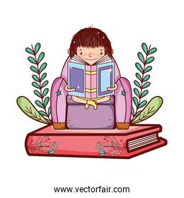 girl sitting chair and reading book