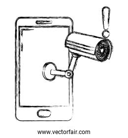 grunge electronic smartphone technology with video camera
