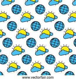 color global connection and sun with clouds background