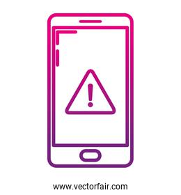degraded line smartphone technology with caution darger symbol