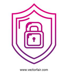 degraded line security shield and padlock protection symbol
