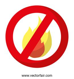 hot fire circle forbidden alert sign