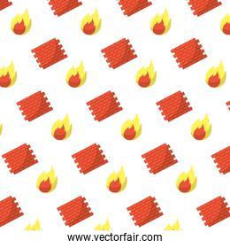 brick wall structure and fire background