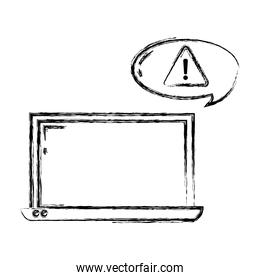 grunge laptop technology and caution sign inside chat bubble