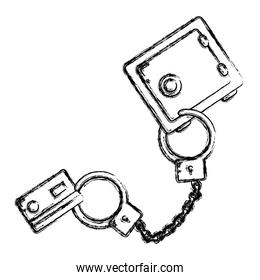 grunge credit card with metal handcuffs and strong box