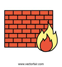 color structure brick wall with caution fire