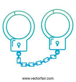 degraded line metal handcuffs object arrest and justice