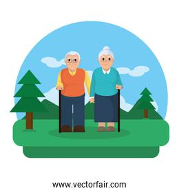 old couple together in the nature landscape