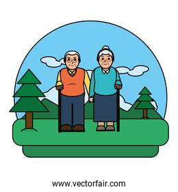 color old couple together in the nature landscape