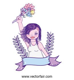 woman hand with flowers bouquet and ribbon