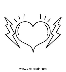 line heart symbol of love and passion with thunders
