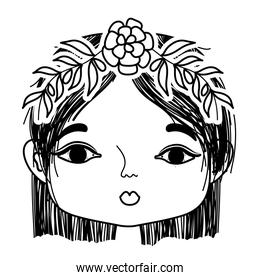 line woman with flower and leaves to head decoration