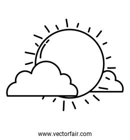 sun ray with clouds weather linear style