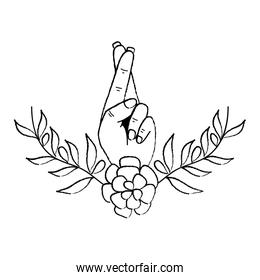 grunge good luck hand gesture with flower and leaves
