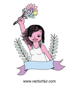 color woman hand with flowers bouquet and ribbon