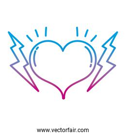 degraded line heart symbol of love and passion with thunders
