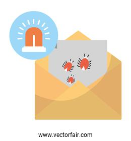 e-mail with spiders hacker virus and siren