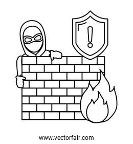 line thief with mask behind brick wall and fire caution