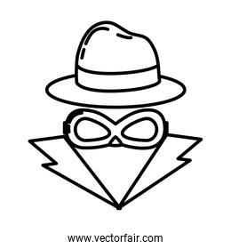 line thief with criminal mask and elegant hat