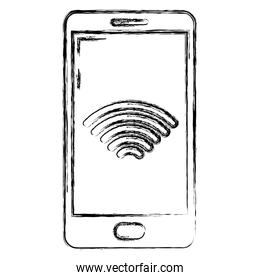 grunge smartphone technology with wifi data device