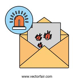 color e-mail with spiders hacker virus and siren
