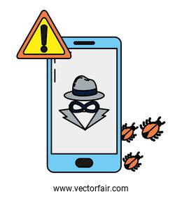 color smartphone with spider and hacker virus caution