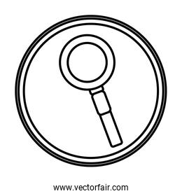 line magnifying glass tool search emblem