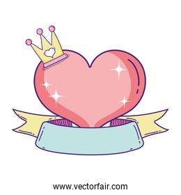heart design with crown accessory and ribbon