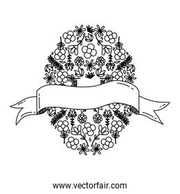 line flowers, plants circle background with ribbon