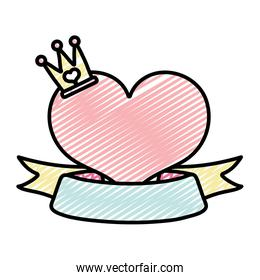 icon heart design with crown accessory and ribbon